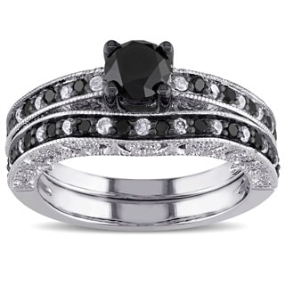 Miadora Sterling Silver 1 1/4ct TDW Black and White Diamond Stacking Engagement Wedding Contour Bridal Ring Set (G-H, I2-I3)