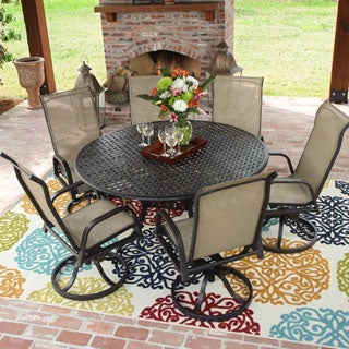 Lakeview Outdoor Designs Madison Bay 6-person Sling Patio Dining Set with Cast Aluminum Table