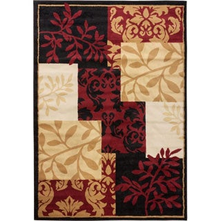 Well-woven Malibu Patchwork Leaves Floral Nature Brown, Red, Beige, Black, and Ivory Area Rug (5' x 7')