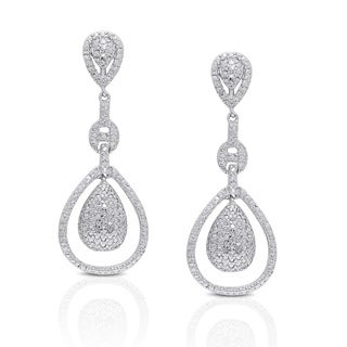 Finesque Silver Overlay Diamond Accent Dangling Teardrop Earrings