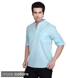Shatranj Men's Banded Collar Kurta Tunic Solid Color Shirt (India)