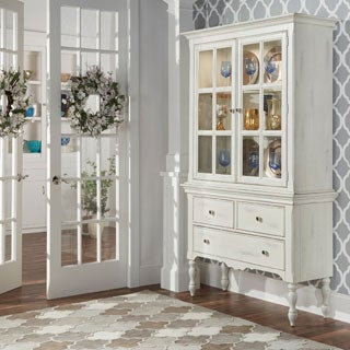TRIBECCA HOME McKay Country Antique White Display Buffet Storage China Cabinet