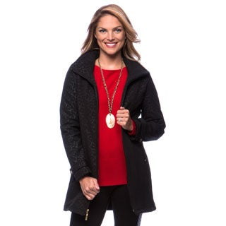 Ellen Tracy Women's Black Animal Soft Shell Coat