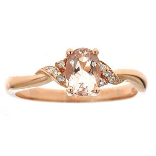 Anika and August 10k Rose Gold Oval-cut Morganite and Diamond Accent Ring (Size 7)