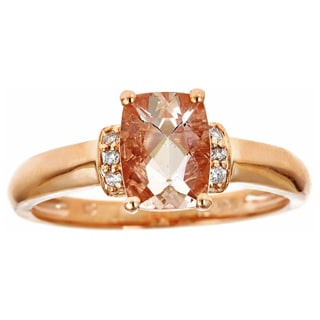 Anika and August 10k Rose Gold Cushion-cut Morganite and Diamond Ring