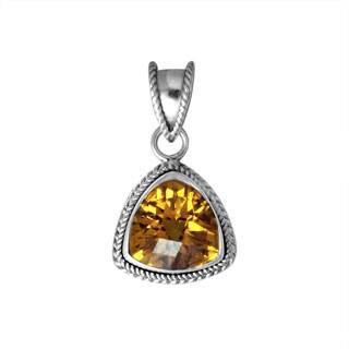 Handmade .925 Sterling Silver Citrine Gemstone Bali Bead Motif Pendant (Indonesia)