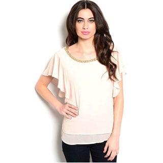 Shop The Trends Women's Flutter Short Sleeve Chiffon Blouse