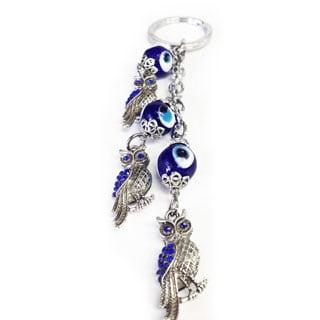 Crystal Florida CF76881324 Evil Eye Key Chain with Three Owls Nazar Kabbalah