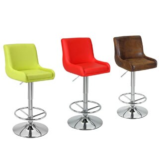 Adeco Vintage-Inspired Faux Leather Adjustable Classic Bar Counter Stools (Set of 2)