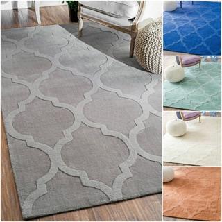 nuLOOM Handmade Abstract Trellis Wool Rug (7'6 x 9'6)