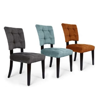 Adeco Velvet Dining Chair with Solid Wood Legs (Set of 2)