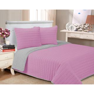 Reversible Pastel 3-piece Cotton Quilt Set