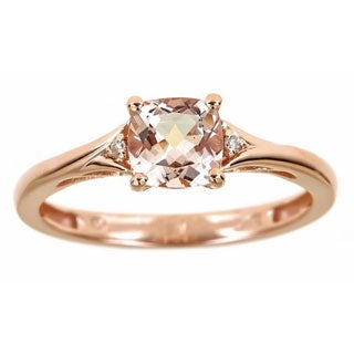 Anika and August 10k Rose Gold Cushion-cut Morganite Diamond Accent Ring (Size 7)