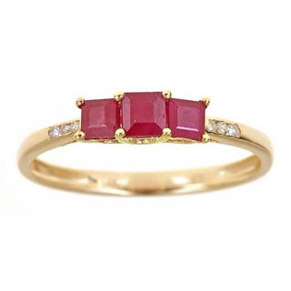 Anika and August 14k Yellow Gold Princess-cut Ruby Diamond Accent Ring