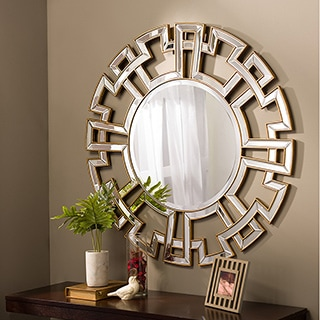 Baxton Studio Ulmer Contemporary Round Accent Wall Mirror with Golden Trim