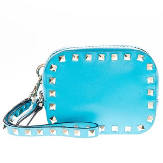 Valentino Blue Rockstud Double Compartment Wristlet