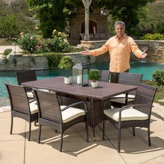Christopher Knight Home Rudolph Outdoor 7-piece Wicker Dining Set with Cushions