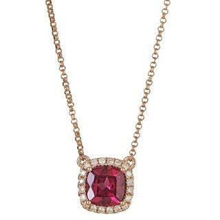 Anika and August 14k Rose Gold Cushion-cut Rodholite 1/6ct TDW Diamond Necklace (G-H, I1-I2)