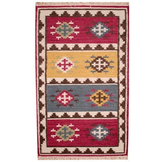 Herat Oriental Indo Hand-woven Vegetable Dye Tribal Kilim Red/ Ivory Wool Rug (4' x 6')