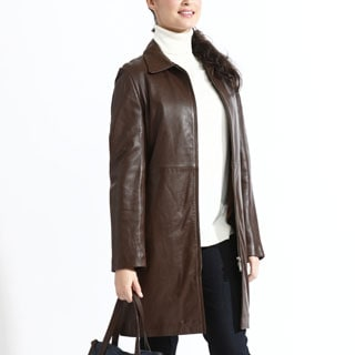 Women's Caramel Leather Zip-out Liner Coat
