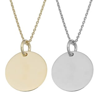 Fremada 14k Yellow or White Gold High Polish 10-mm Round Disc Adjustable Necklace