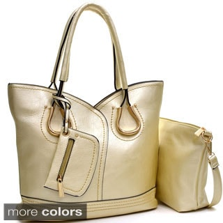 Dasein 2-in-1 Structured Gold-Tone Shoulder Bag with Coin Pouch