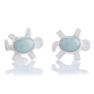 Handcrafted Sterling Silver 'Marine Turtles' Jade Earrings (Guatemala)