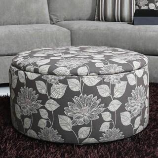 Somette Draco Floral Round Storage Ottoman