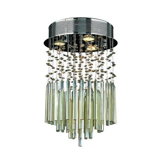 Modern 3-light Halogen Golden Teak Crystal 12-inch Raindrop Flush Mount Ceiling Light