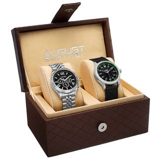 August Steiner Men's Swiss Quartz Multifunction Stainless Steel Canvas Strap/Bracelet Watch Set