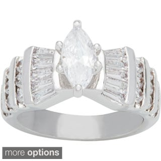 Simon Frank Rhodium-overlay 'The Marquise' CZ Engagement Ring