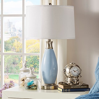 TRIBECCA HOME Ajax Blue Metal 1-light Accent Table Lamp
