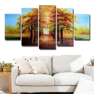 Design Art 'Golden Tree Tops' Forest Oil Painting