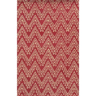 Pink/ White Bradberry Downs Collection 100-percent Wool Accent Rug (8' x 10')