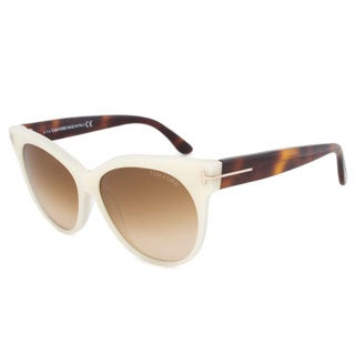 Tom Ford Womens TF 330 Saskia 20F Ivory Havana Cat Eye Sunglasses