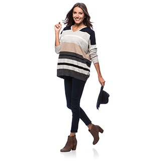 Premise Long Sleeve Jersey Stripe 4x4 Rib V-neck Multi Stripe Cashmere Pullover