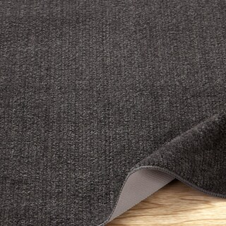 Ottomanson Softy Collection Grey Solid Machine-washable Non-slip Bathroom Mat Rug