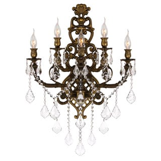 Versailles French Style 5-light Antique Bronze Finish Clear Crystal Large Wall Sconce Light
