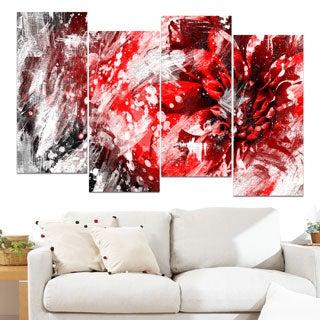 Design Art 'Modern Red and White Floral Art' Canvas Art Print