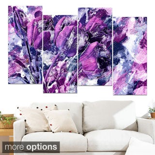 Design Art 'Shades of Purple Flowers' Canvas Art Print