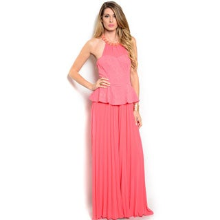 Shop The Trends Women's Sleeveless Peplum Jumpsuit with Halter Neckline and Pleated Bottom