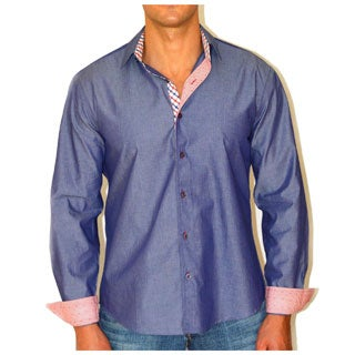 Giorgio Men's Blue Chambray Button Front Sport Slim Fit Shirt