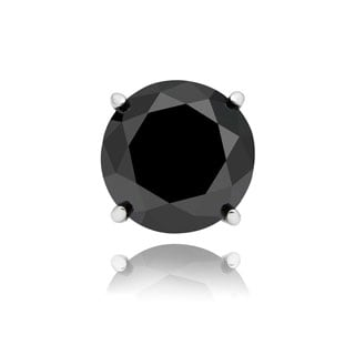 Finesque Sterling Silver, Gold Over Sterling Silver or Platinum Over Sterling Silver 1/4ct TDW Black Diamond Single Stud Earring