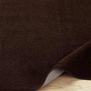 Ottomanson Softy Collection Brown Solid Bathroom Rug (1'8 x 4'11)