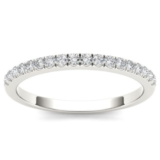De Couer 10k White Gold 1/3ct TDW Diamond Comely Women's Wedding Band (H-I, I2)