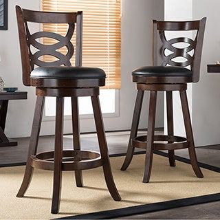 Walsh Espresso Brown 29 Inches Swivel Bar Stool with PU Leather Upholstered Seat (Set of 2)