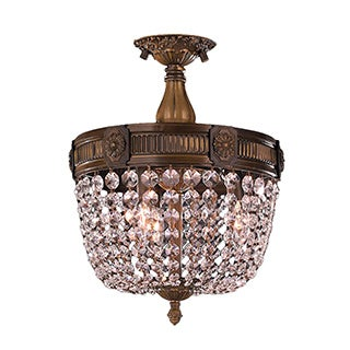 Traditional 3-light Antique Bronze Finish and Clear Crystal 12-inch Semi-flush Mount Ceiling Light