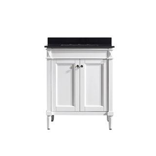 Vinnova Catania 30-inch White Mirrorless Single Vanity with Black Galaxy Granite Top