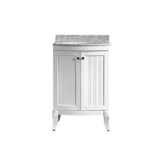 Vinnova Verona 24-inch White Mirrorless Single Vanity with Carrara White Marble Top