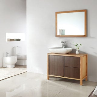 Vinnova Monza 40-inch American Red Oak Single Vanity with White Vessel Sink, and Mirror